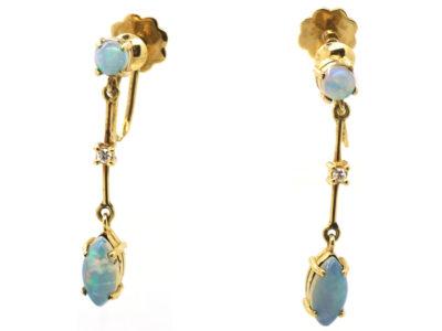 14ct Gold,Opal & Diamond Drop Earrings