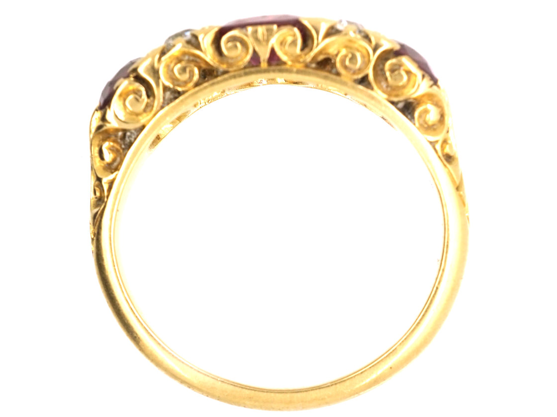 Victorian 18ct Gold, Ruby & Diamond Three Stone Carved Half Hoop Ring