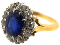 Edwardian 18ct Gold, Sapphire & Diamond Oval Cluster Ring