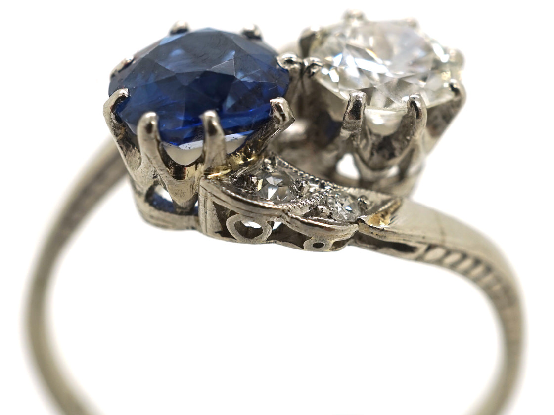 Art Deco 18ct White Gold, Sapphire & Diamond Crossover Ring