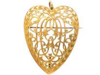 Large Victorian Heart Shaped Pierced Work Pendant