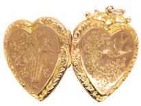 Edwardian Heart Shaped 9ct Gold Locket With Swallow & Flowers Motif