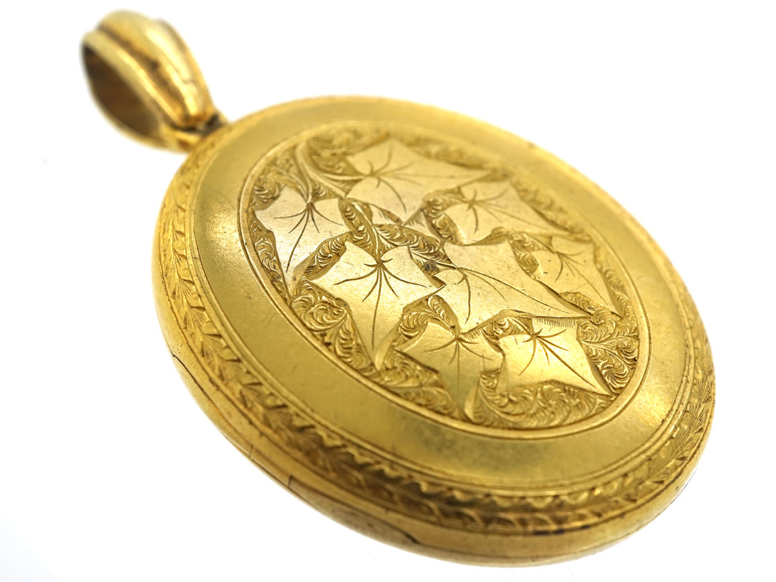 Victorian 18ct Gold Locket With Ivy Motif 'Cling To Me'