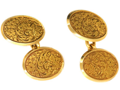 Victorian 18ct Gold Engraved Cufflinks