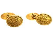 Victorian 18ct Gold Engraved Cufflinks