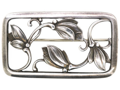 Silver Flower Brooch by Georg Jensen