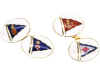 Victorian 18ct Gold & Enamel Flag Cufflinks by Benzie of Cowes