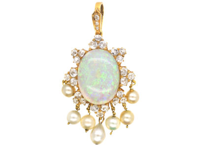 18ct Gold, Opal, Diamond & Pearl Pendant