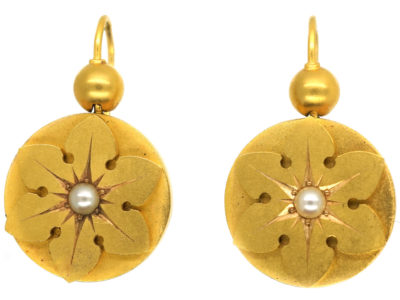 Victorian 15ct Gold Flower Earrings Set With Natural Split Pearls