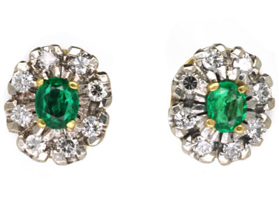 18ct White & Yellow Gold, Emerald & Diamond Cluster Earrings