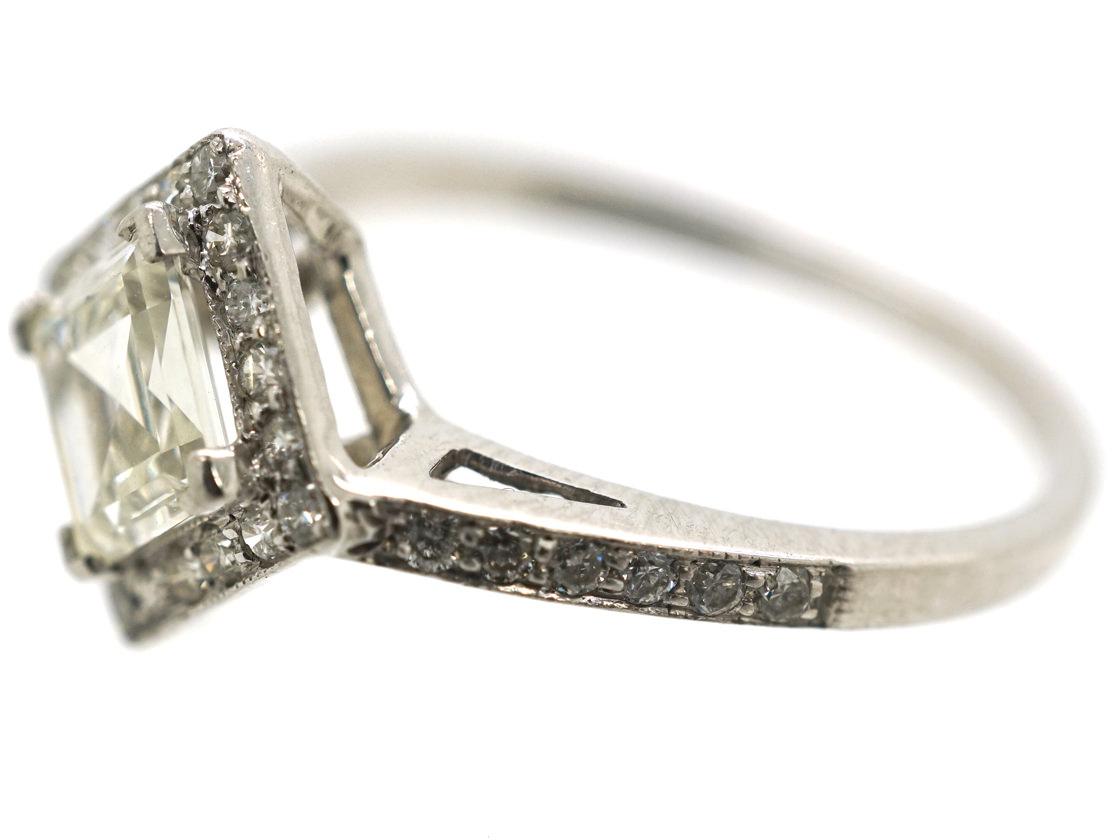 18ct White Gold, Diamond Set, Diamond Shaped Ring