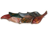 Victorian Scottish Leaf Brooch Set With Various Agates