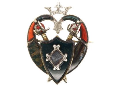 Victorian Scottish Heart Shaped Brooch With Shield & Swords