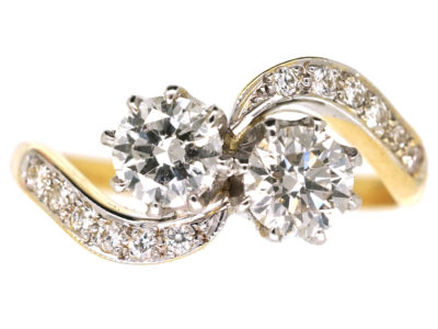 Edwardian 18ct Gold, Platinum & Diamond Crossover Ring