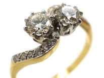 Edwardian 18ct Gold, Platinum & Diamond Crossover Ring
