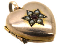 Edwardian 9ct Gold Heart Locket with Star Design Set With a Garnet and Natural Split Pearls