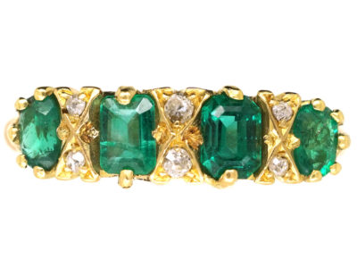 Victorian 18ct Gold, Four Stone Emerald & Diamond Carved Half Hoop Ring