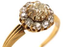 Edwardian 14ct Gold Diamond Cluster Ring
