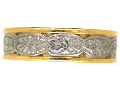 22ct Gold & Platinum Wedding Ring With Flower Motif