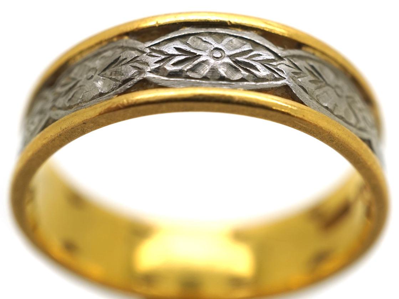 22ct Gold & Platinum Wedding Ring With Flower Motif