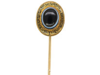 Victorian 18ct Gold Banded Sardonyx & Black Enamel Oval Tie Pin