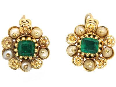 Georgian 18ct Gold, Emerald & Pearl Cluster Earrings