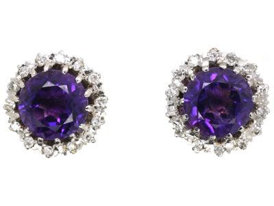 9ct White Gold, Amethyst & Diamond Cluster Earrings