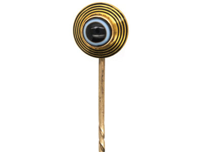 Victorian 18ct Gold, Black Enamel & Banded Onyx Tie Pin