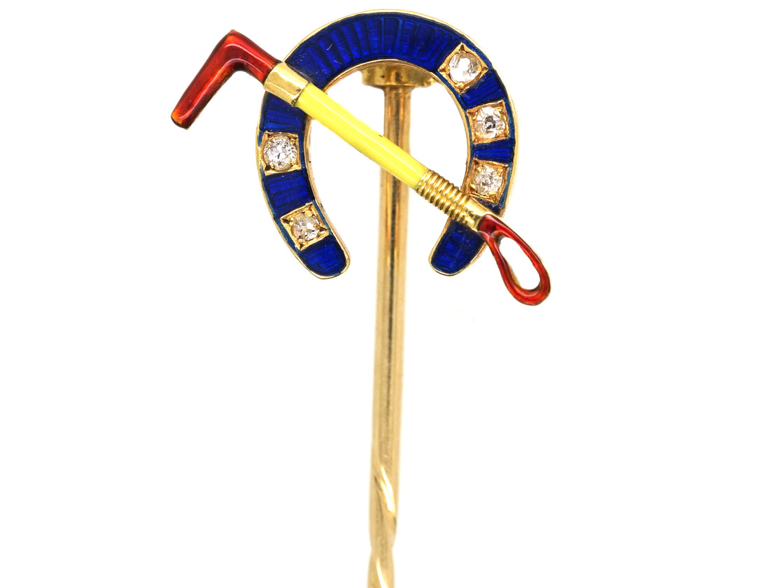 Edwardian 18ct Gold, Diamond & Enamel Horseshoe & Whip Tie Pin