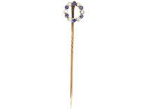Edwardian Sapphire & Diamond Circular Tie Pin