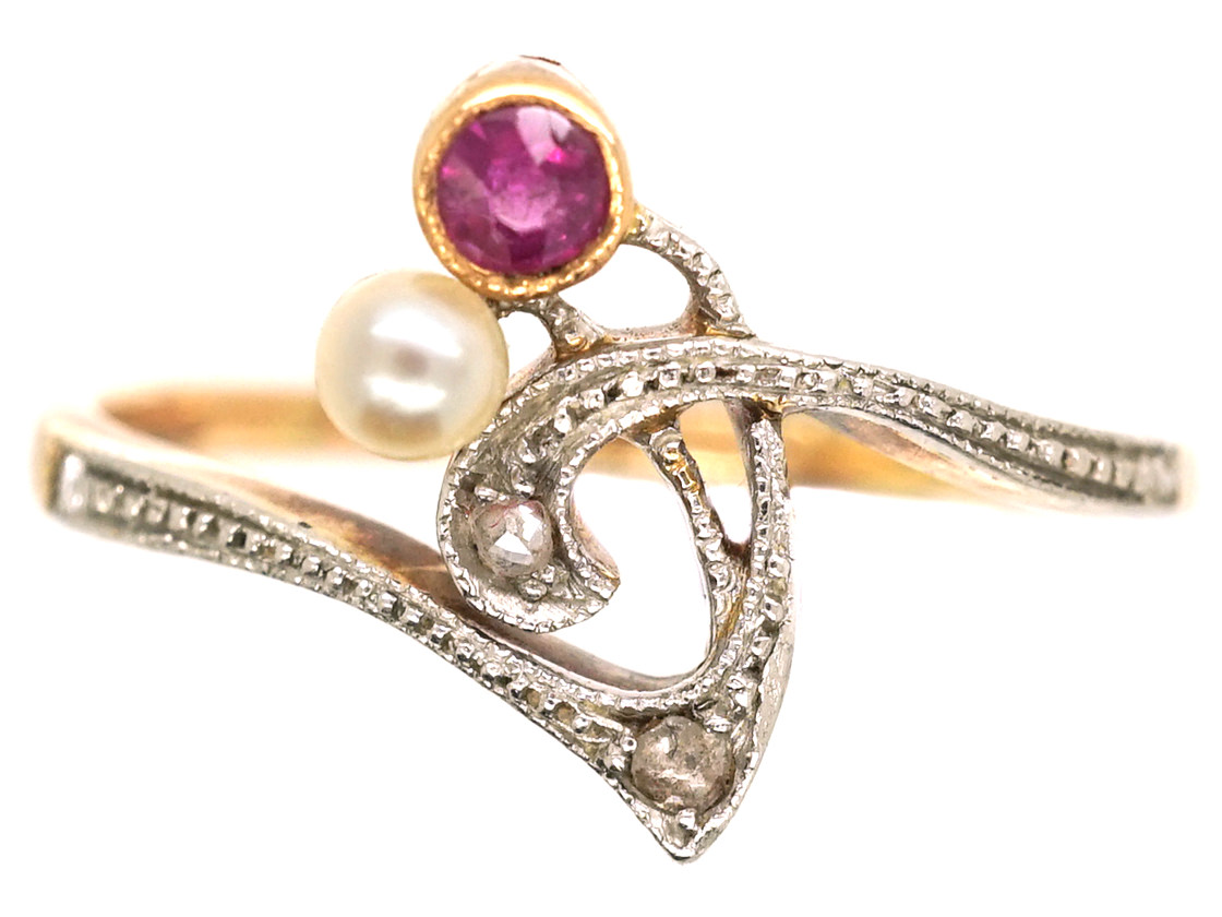 Art Nouveau 14ct Gold & Platinum, Ruby, Pearl & Diamond Flower Sprig Ring