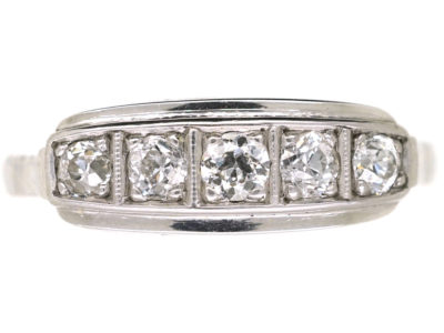 Art Deco 14ct White Gold & Diamond Five Stone Ring