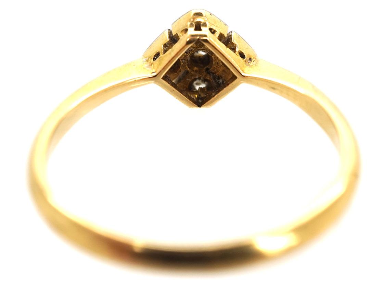 Art Deco 18ct Gold & Platinum, Diamond Shaped, Diamond Set Ring