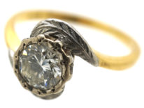 Art Deco 18ct Gold & Platinum Diamond Solitaire Ring With Leaf Detail