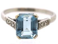 Art Deco 18ct White Gold, Aquamarine & Diamond Ring