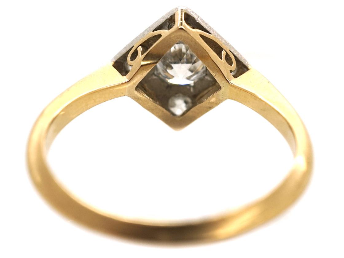 Art Deco 18ct Gold & Platinum, Diamond Shaped Ring Set With Diamonds