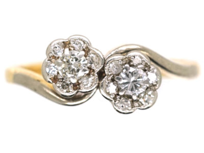18ct Gold & Platinum Double Cluster Crossover Diamond Ring