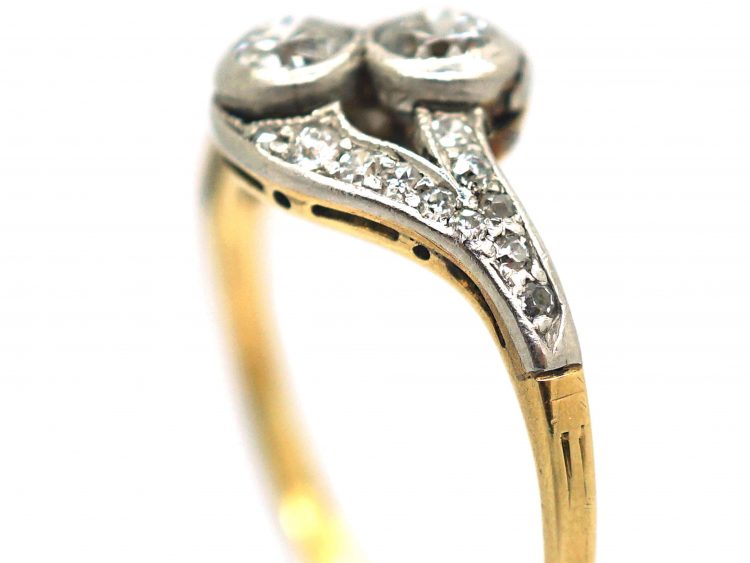 Edwardian 14ct Gold & Platinum, Two Stone Diamond Crossover Ring With Diamond Set Split Shoulders