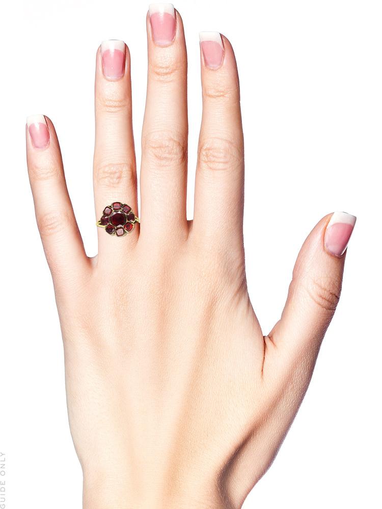 Georgian Foiled Amandine Garnet Cluster Ring