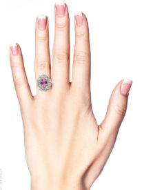 18ct White & Yellow Gold, Pink Sapphire & Diamond Oval Cluster Ring