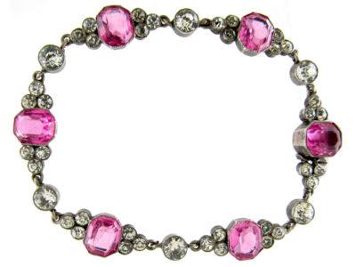 Edwardian Silver Pink & White Paste Bracelet