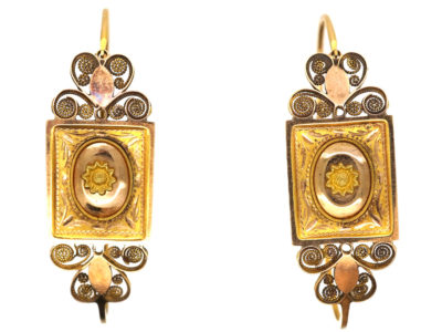 Georgian 18ct Gold Poissarde Earrings