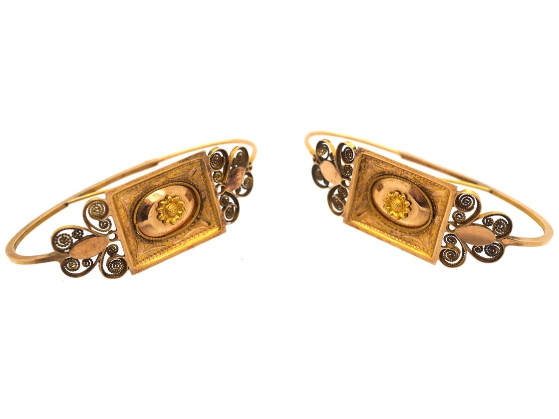 Georgian 18ct Gold Poissarde Earrings