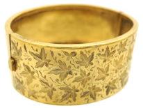 Victorian Silver Gilt & Engraved Ivy Leaf Design Bangle