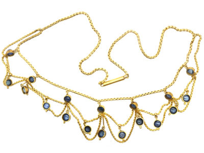 Edwardian 18ct Gold & Cabochon Sapphire Festoon Necklace