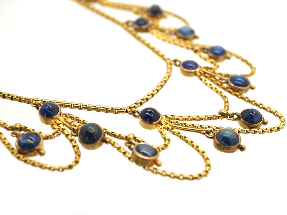 Edwardian 18ct Gold & Cabochon Sapphire Festoon Necklace