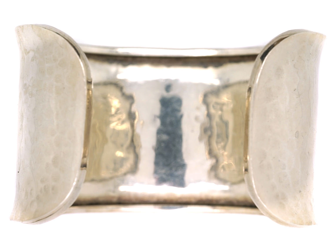 Silver Open Bangle With Hammered Design