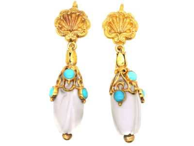 Regency 15ct Gold, White Coral & Turquoise Earrings