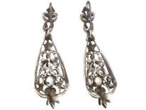 Art Deco Silver, Marcasite & Pearl Drop Earrings
