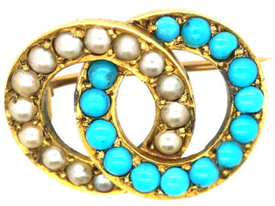Edwardian 15ct Gold Turquoise & Natural Split Pearl Love Brooch